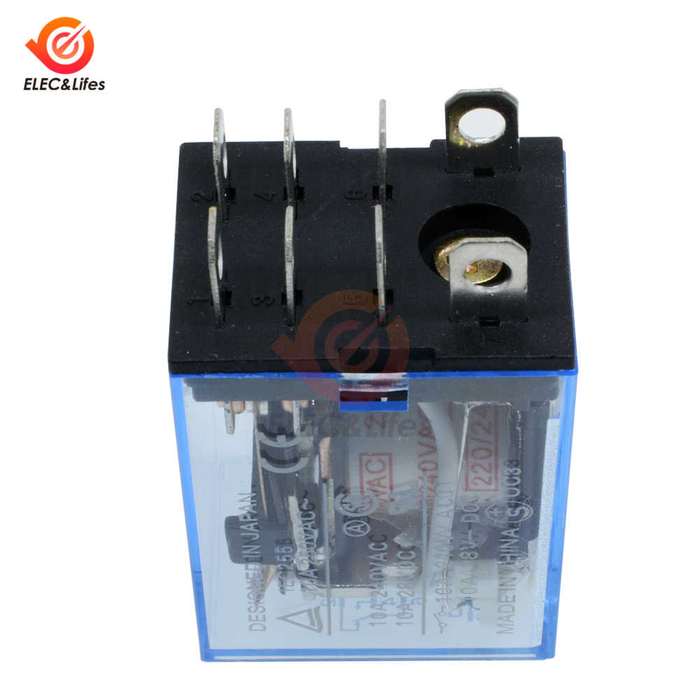 AC 220V DC 12V 24V 10A Coil Power Relay LY2NJ Electronic Mini Electromagnetic Relay Omron Module DPDT 8 Pin LED Lamp Indication