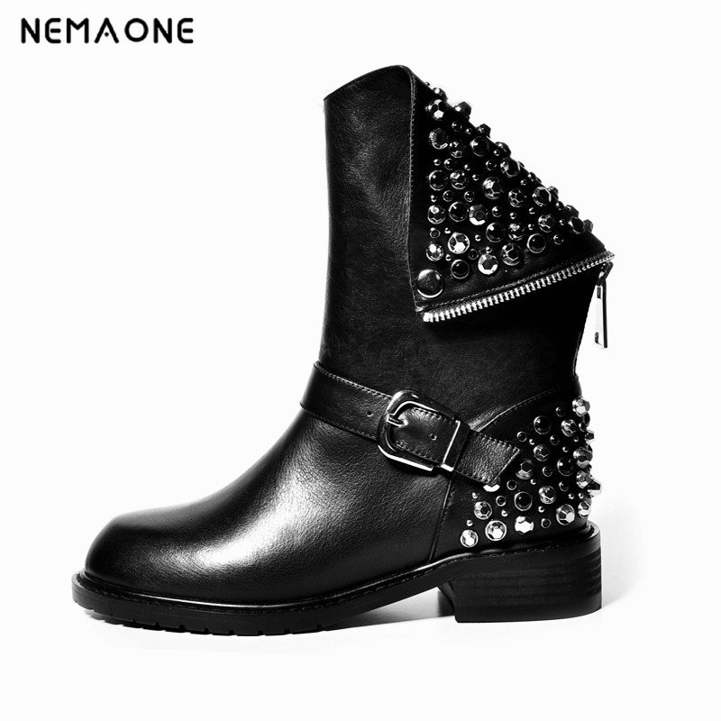 NemaoNe 2018 New arrival PU+Genuine leather boots rivets autumn winter ankle boots for women sexy female motorcycle snow bootsNemaoNe 2018 New arrival PU+Genuine leather boots rivets autumn winter ankle boots for women sexy female motorcycle snow boots
