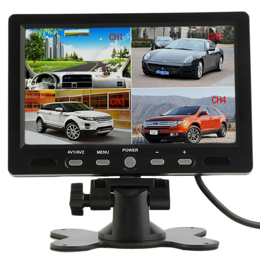 7 Inch 4 Split Quad TFT LCD Display DC 12V Car Rear View Headrest Monitor For DVD Reversing Camera 4 3 inch display tft color lcd monitor cctv camera monitor 2 av input 1 way for rear view