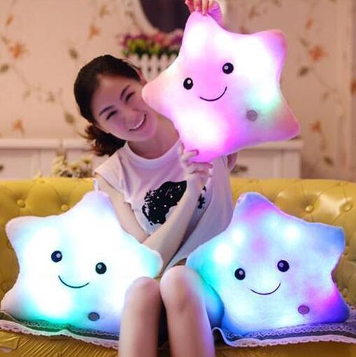 Star Luminous Pillow Juguetes for Girls Stuffed Soft Plush Glow Cushion Star Smile Led Light Pillow Kids sleep Toys for Children  led star luminous kids pillow 35cm stuffed soft plush glow cushion colorful flashing pillow lovely toys for girls