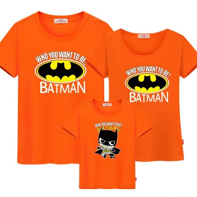 Family Matching Outfits Summer T Shirt Batman Look Father Son Mother Daughter Cartoon Printing