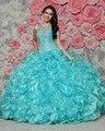 2017 Barato Ruffles Con Gradas Azul Real Vestidos de Quinceañera Durante 15 Años organza moldeado barato vestido de 15 anos sweet 16 vestido de la muchacha