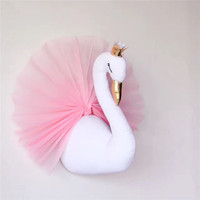 Nordic Cute Swan Cloth Wall Hanging Decorations Double sided Printed Pillow Cushion For Girls Kids Bedroom Ornament Baby Toys