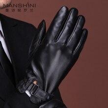 Winter genuine leather gloves men touch screen winter warm add cashmere thicken gloves men's sheepskin gloves MLZ108 pair of fashionable button stripy touch screen thicken pu gloves for men