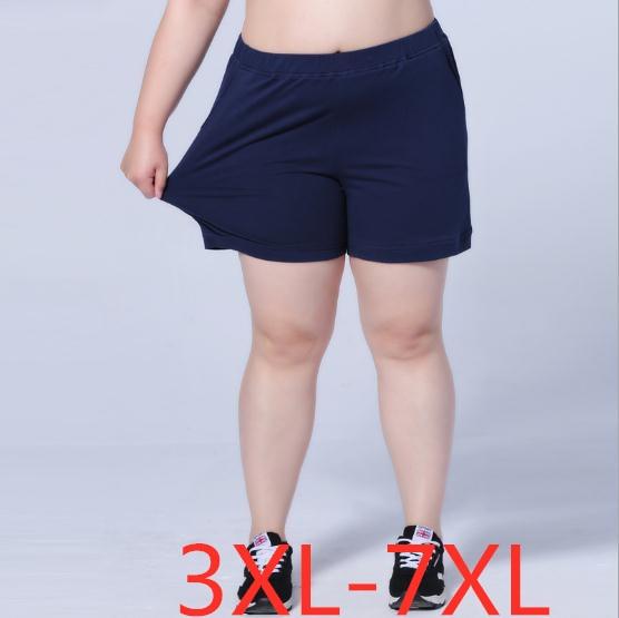 2019 summer plus size   shorts   for women casual loose elastic waist black blue large size wowan   short   pants 3XL 4XL 5XL 6XL 7XL