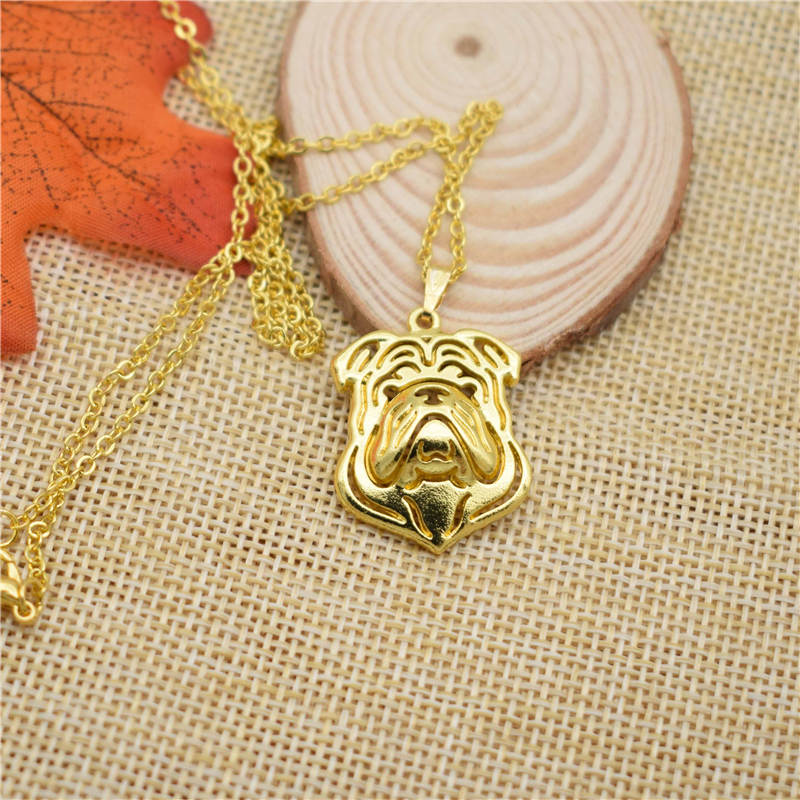 LPHZQH fashion cartoon Puppy dog metal alloy English Bulldog choker pendant necklace for Women Collares Jewelry gift
