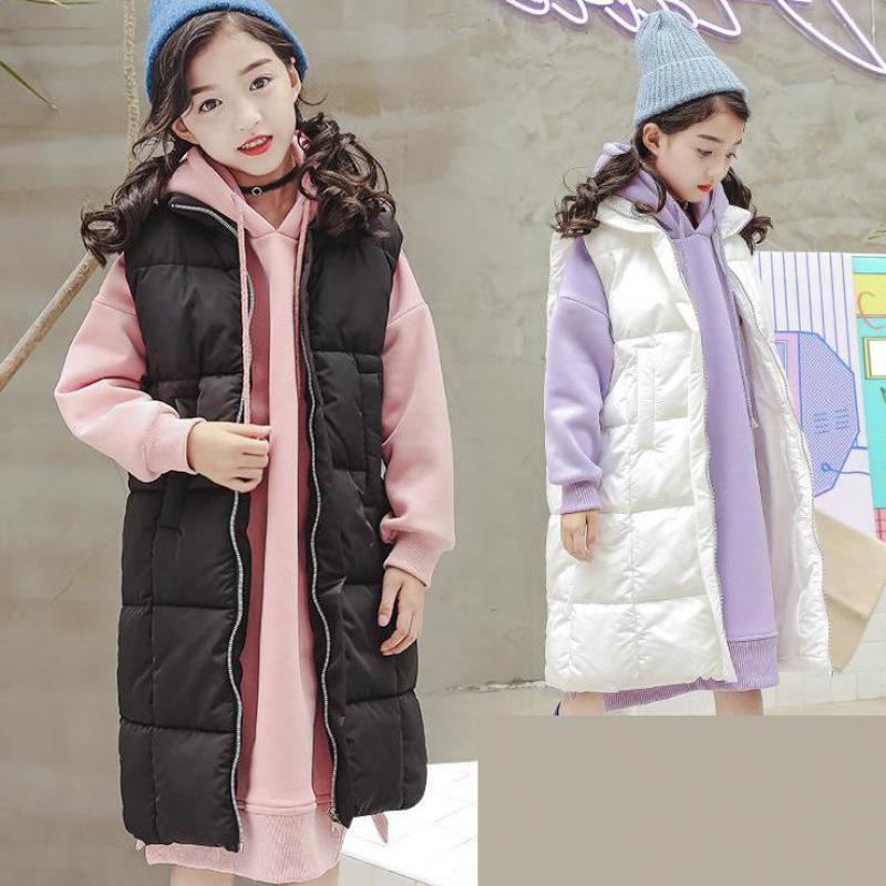 Children Clothing Waistcoat Toddler Girls Thick Winter Vest Coat Cotton Padded Warm Sleeveless Jacket Teenage Girls Outerwear 12 stylish hooded sleeveless zip up padded waistcoat for women