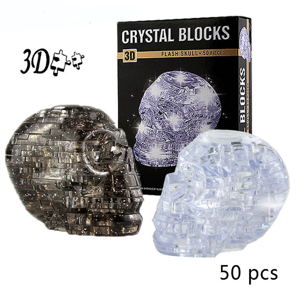 3D Crystal Puzzle Jigsaw Puzzles 50 Pieces Toys Montessori Education Toys Puzzel Adult Cute Skull Model DIY Gadget Decor JA24b
