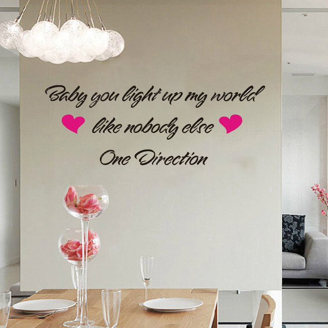 ONE DIRECTION   BABY YOU LIGHT UP MY WORLD Wall Stickers Decoration Decal  Art Living Room