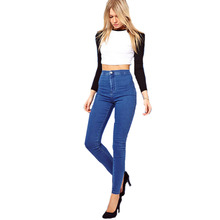 Women Casual High Elastic Waist Skinny Stretch Jeans Fashion Blue Long Slim Pencil Denim Pants