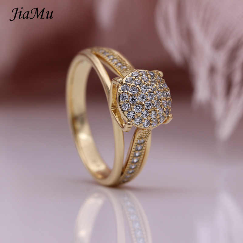 JiaMu ใหม่ร้อนขายแฟชั่นการตั้งค่า zircon 585 rose gold หรือสีขาวทองรอบแหวนผู้หญิงงานแต่งงานเครื่องประดับ