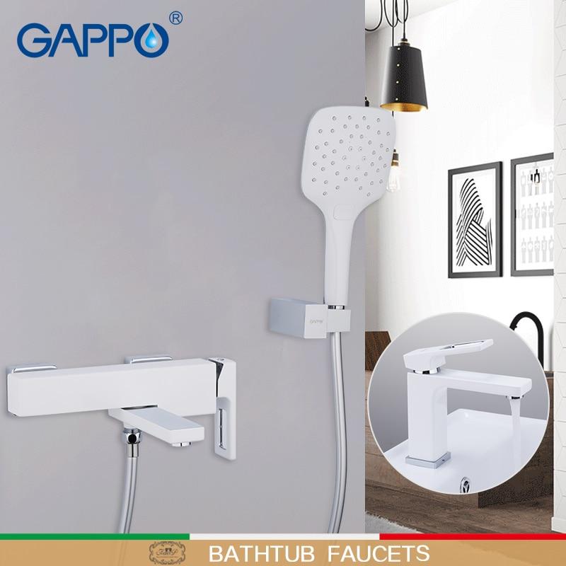 GAPPO robinets de baignoire robinet cascade mélangeurs de douche système de douche de bain robinet d'eau en laiton chrome et blanc mitigeur de robinet de bain