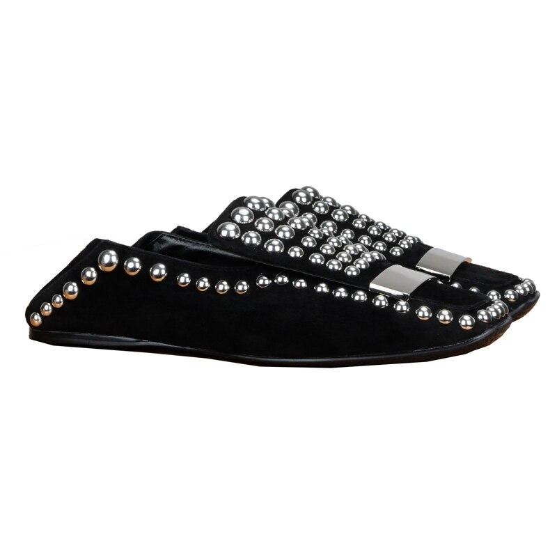 Slip Primavera Beige black Las Mujeres Cuero Piso Zapatos Dos Acogedor Tachonado Metal Gran Tamaño De Perfetto Casuales Desgaste Prova Remache Nuevo qHROn0xwv7