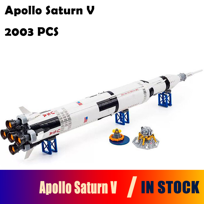 Model Building Blocks toys Creative 37003 Apollo Saturn V Launch Vehicle compatible with lego 21309 Educational toys hobbies lepin 37003 creative series apollo saturn launch vehicle set building block bricks toys 1969pcs kids gifts 21309