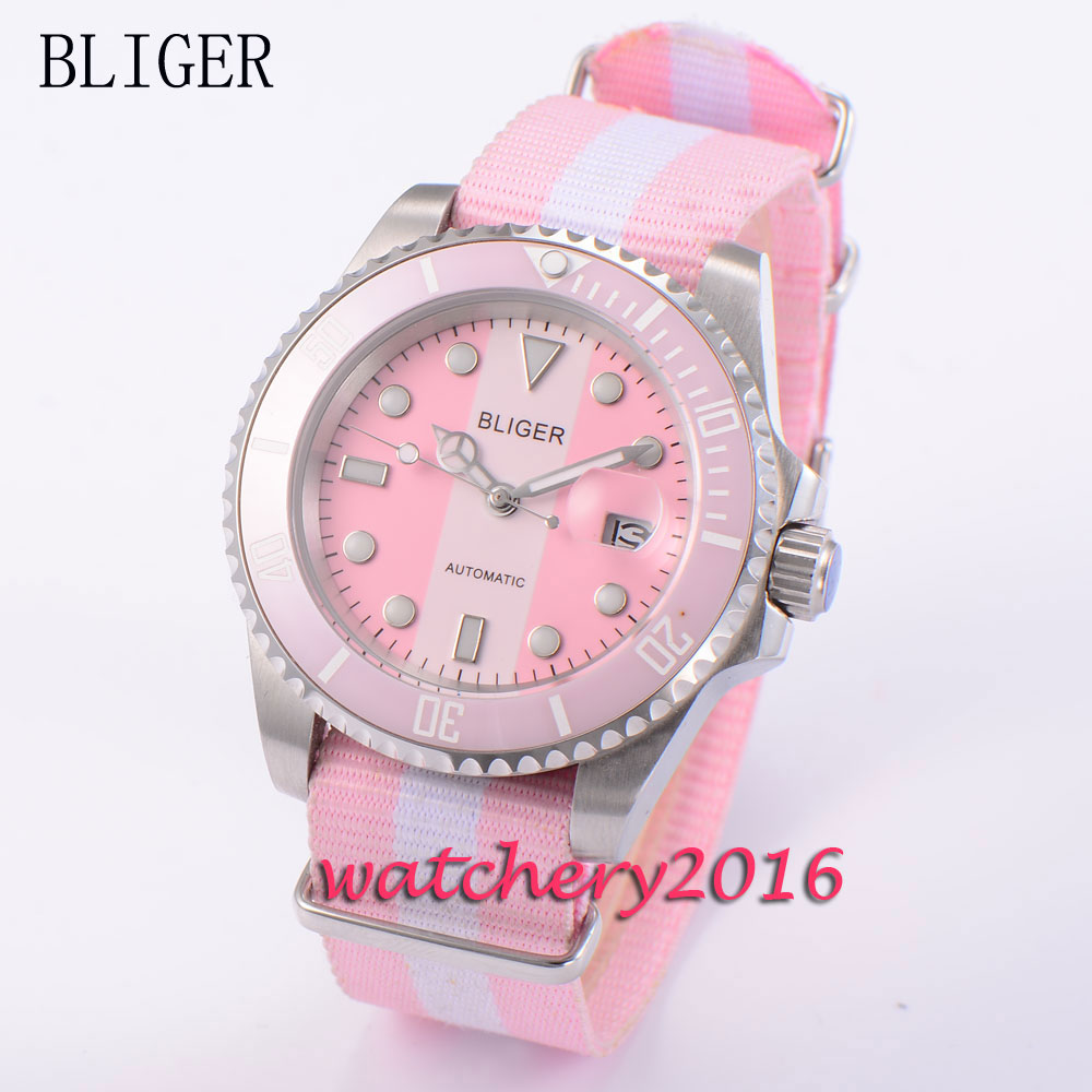 40mm Bliger sapphire glass pink dial nylon strap Auto Date Luminous marks automatic Self-Wind Mechanical Mens Wristwatches40mm Bliger sapphire glass pink dial nylon strap Auto Date Luminous marks automatic Self-Wind Mechanical Mens Wristwatches