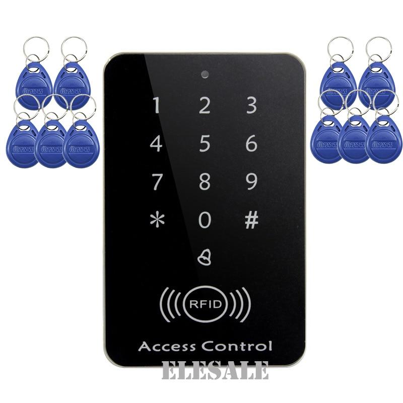 RFID Access Control Keypad Password Card Unlock RFID Proximity Entry Door Lock Controller + 10 RFID Keyfobs Tags