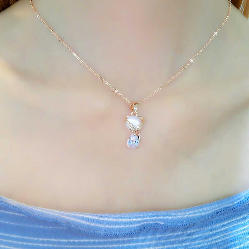 Лисий кулон ожерелье женский небольшой свежий дикий простой ключицы цепи Женский