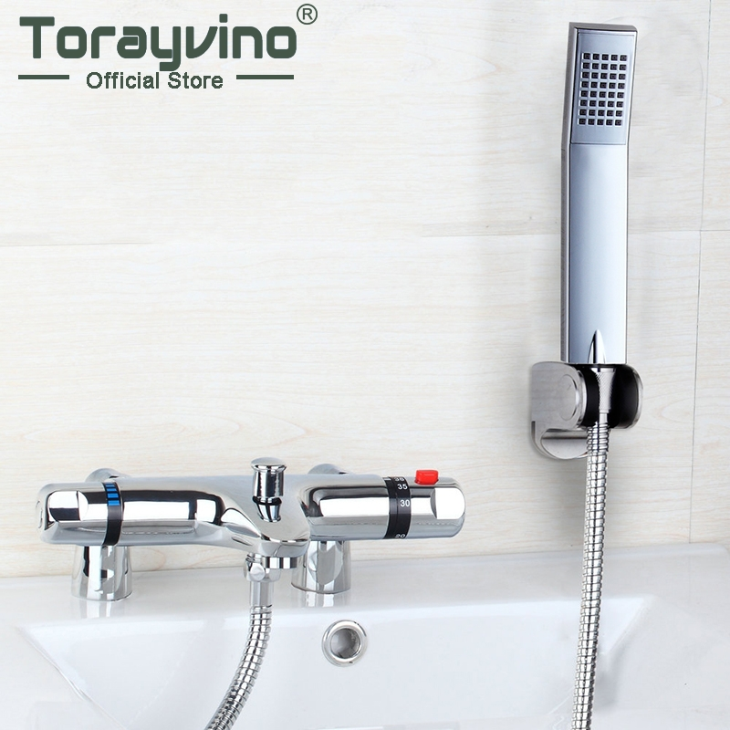 Torayvino Bathroom Deck Mounted Two Handle Thermostatic Shower Mixer Faucet Hand Shower Taps Chrome polished wall mount 10 inch thermostatic bathroom shower faucet mixer taps dual handle with hand held shower chrome finish