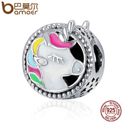 BAMOER Authentic 925 Sterling Silver Adorable  Color Enamel Beads fit Original Charm Bracelet Women DIY jewelry SCC362