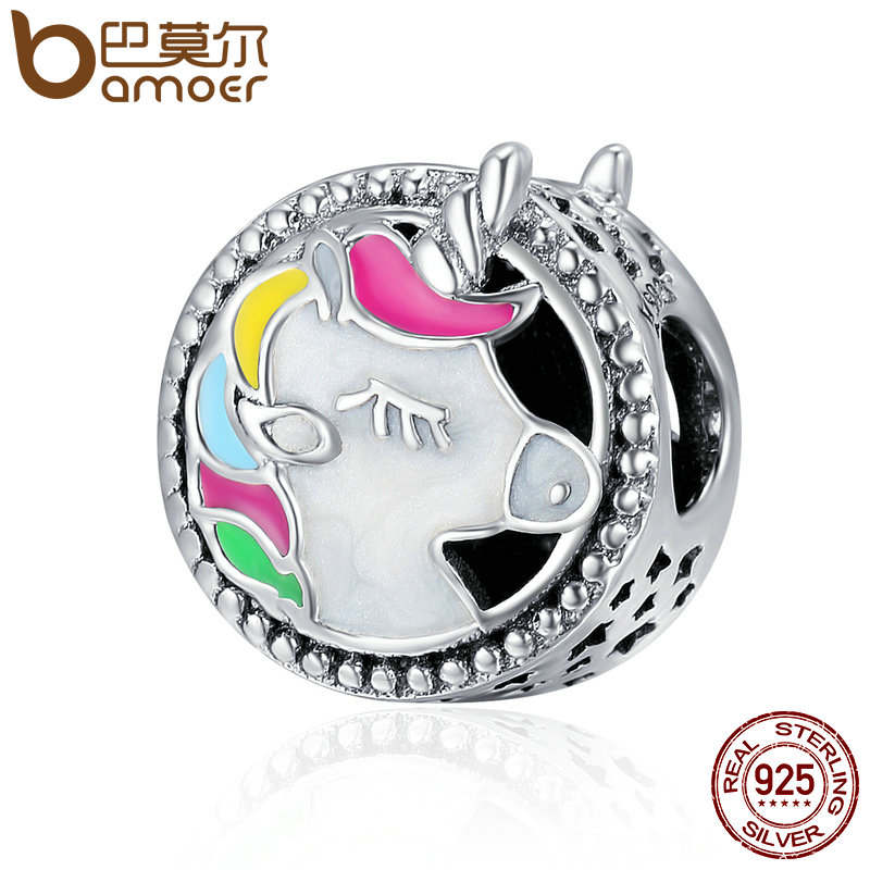 BAMOER Authentic 925 Sterling Silver Adorable Unicorn Color Enamel Beads fit Original Charm Bracelet Women DIY jewelry SCC362
