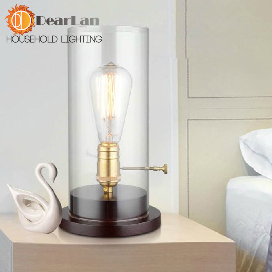 ФОТО Vintage Rustic Edison Desk Lamps Edison Bulb Light For Decoration,Edison Bedside Table Lighting With Transparent Glass Shade