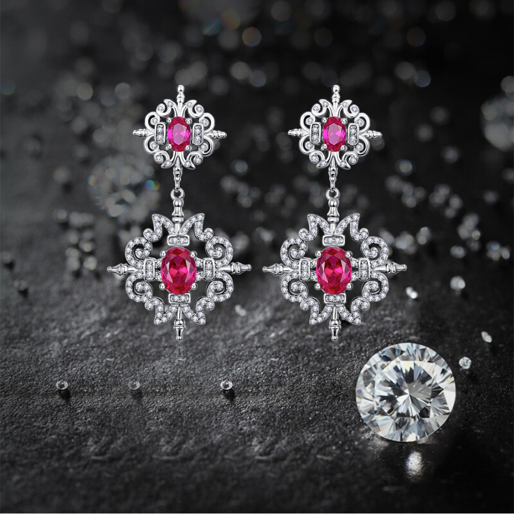 .Jrose 6.7ct Classic Pear Cut Earrings 100% Genuine 925 Sterling Silver Jewelery Wedding Anniversary Earrings