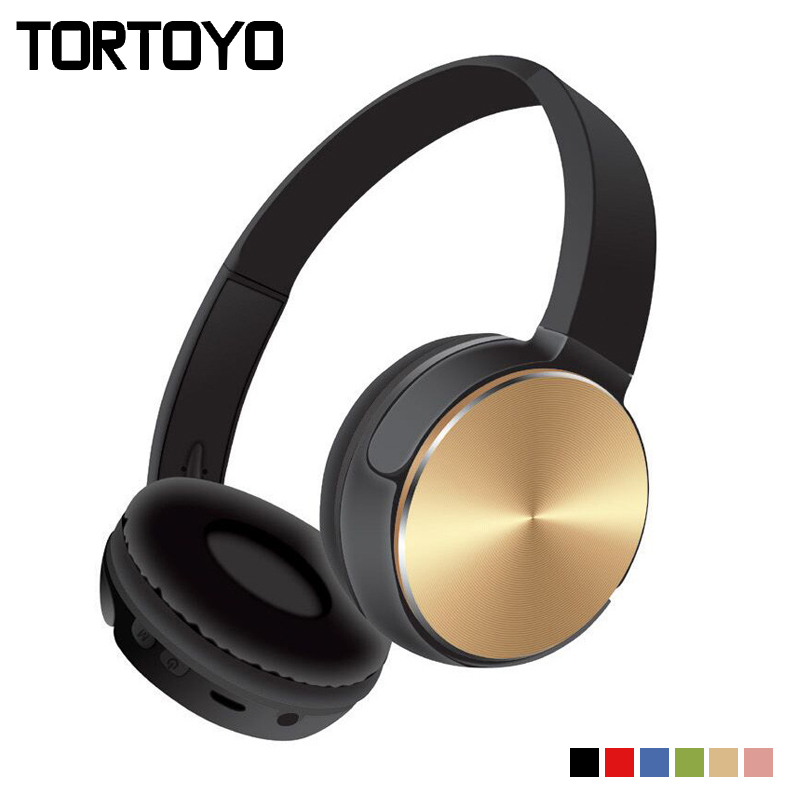 TORTOYO Foldable Bluetooth Wireless Headphone Over Ear Headband Headset with Microphone Support TF FM Radio 3.5mm Aux for Phone hl good quality original wireless headset bluetooth headphone headband headset with fm tf led indicators for iphone cell phone