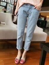 Бесплатная доставка Моды промывочной воды окончания краткое ретро повседневная светло-голубой женские свободные джинсы женские джинсы