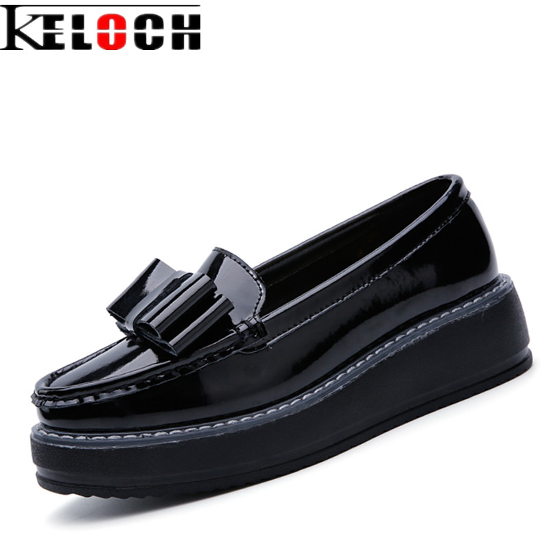 Keloch Women Summer Platform Shoes Creepers Loafers Moccasins Patent Leather Slip On Chaussure Femme White Flats Shoes Woman designer women sandals summer creepers platform shoes peep wedges genuine leather slip on chaussure femme