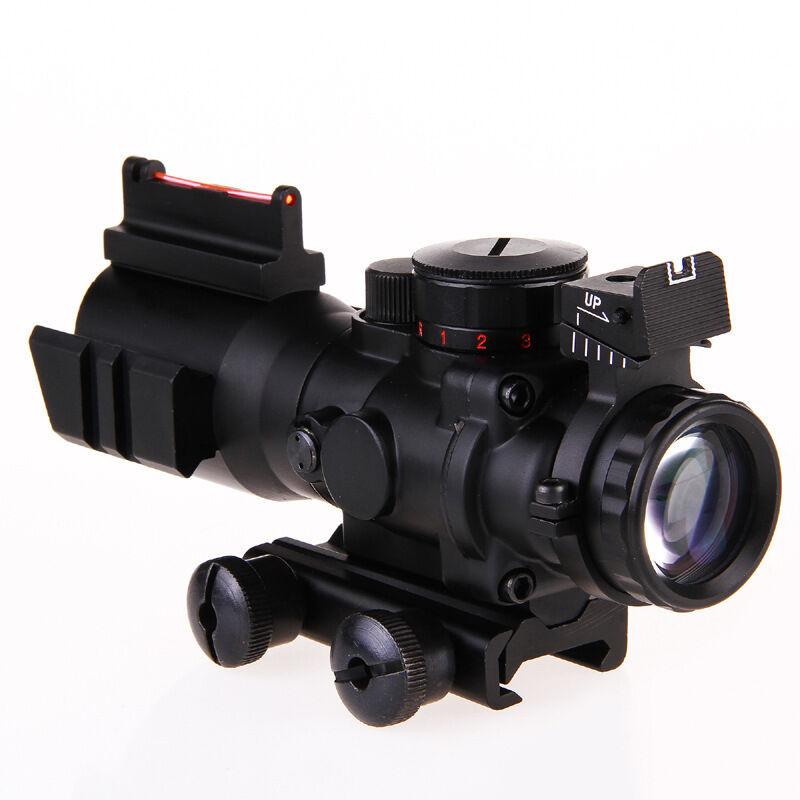 Scope Fiber Illuminated 4x32 Rifle Optic Sight Red Tactical Tri Acog Prismatic