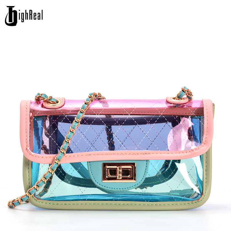 2pcs 2018 New Fashion Women Clear Transparent Shoulder Bag Jelly Candy Summer Beach Handbag Woman Messenger Bags Bolsa Feminina zhierna new summer korean chain single shoulder bag big handbag fashion picture bags women jelly crystal transparent beach bag