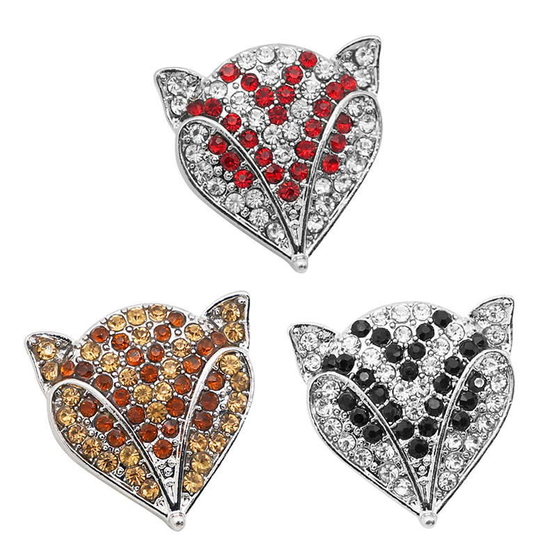 New Fashion Beauty Rhinestone Lovely Fox 25mm Snap Buttons Fit 18mm Snap Jewelry Wholesale KZ3327