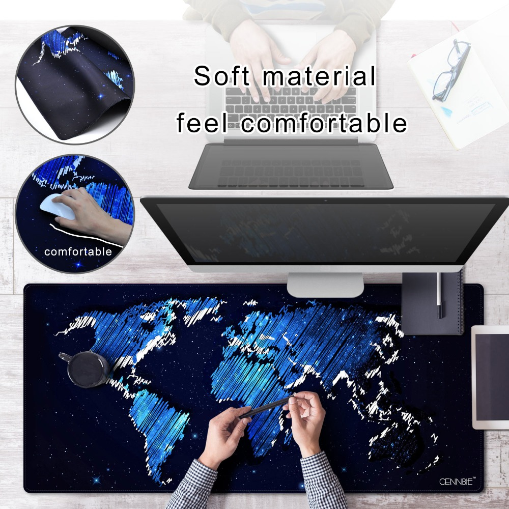 CENNBIE Large World Map Mouse Pad 100*50cm Speed Keyboards Mat Rubber Gaming Desk Mat for Game Player Desktop PC Computer Laptop