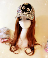 Sweet lolita princess Black big diamond skull bow paillette rhinestone metal gem claw drill denim truck flat military hat