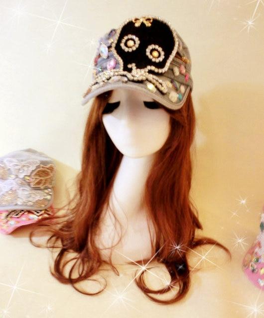 Sweet lolita princess Black big diamond skull bow paillette rhinestone metal gem claw drill denim truck flat military hat
