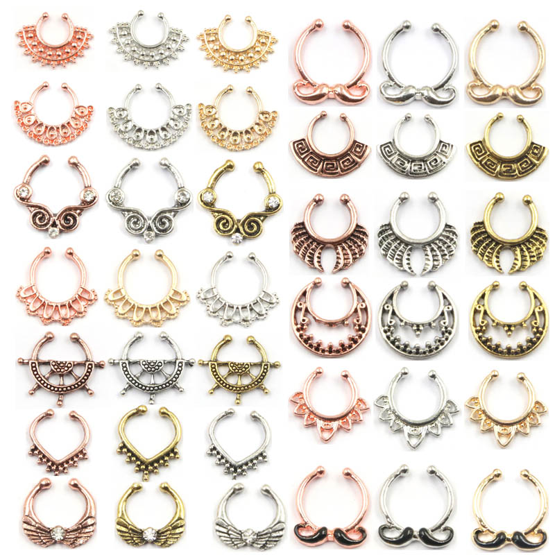 100pcs Mix New Summer style rose gold fake nose ring septum clip ...