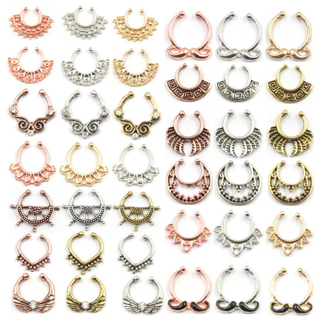 100pcs Mix New Summer style rose gold fake nose ring septum clip