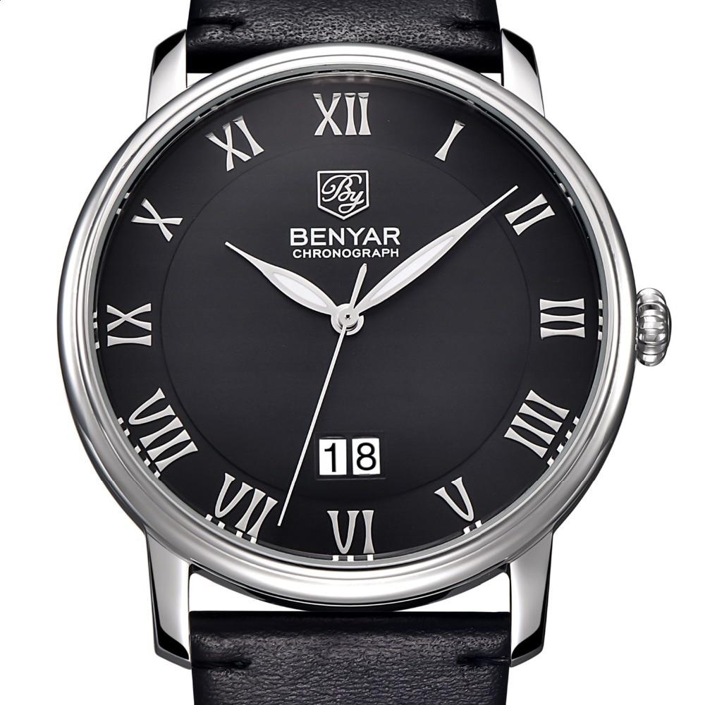 Mens Watches Top Brand Luxury Quartz Watch BENYAR 2016 Big Dial Design Roman Numerals Fashion Quartz-Watch Relogio Masculino