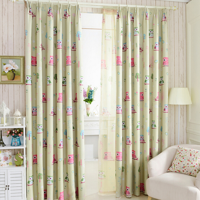 US $5.3 38% OFF|Top Finel Cartoon Bird Pattern Finished Blackout Curtains  for Kids Children Living Room the Bedroom Window Curtain Panel Drapes-in ...