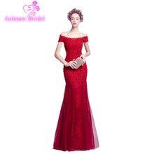 AOLANES 2018 New Red Tulle Evening Dress Boat Neck Mermaid Prom Dresses Sleeveless Floor-length Vestido De Festa Formal Dress