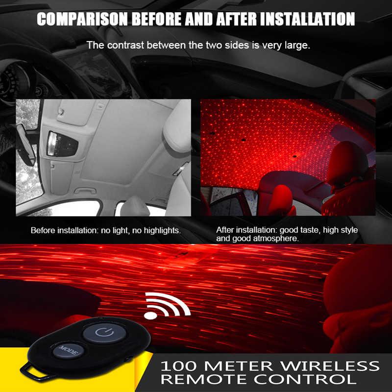 Araba styling Kablosuz Uzaktan/Müzik/Ses Kontrolü Iç Dekorasyon Işık USB Fiş LED Atmosfer Parti lazer Projektör Lambası