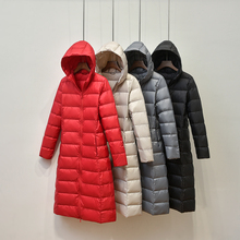 Winter Women Light Down Jacket Hooded Long Loose Warm Coat Parka Female Solid Color Thin Section Cotton Jacket White Duck Down цены онлайн
