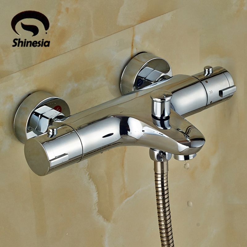 High Quality Solid Brass Chrome Bathroom Thermostatic Shower Faucet Valve Faucet Accessories Wall Mounted beelee high quality chrome wall mounted bathroom thermostatic faucet thermostatic valve bathroom shower faucet bathtub faucet