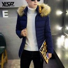 Зима новый мужской случайные вниз хлопка одежды Корейской моды енот Надьямарош воротник мужской хлопок мужские парки плюс размер