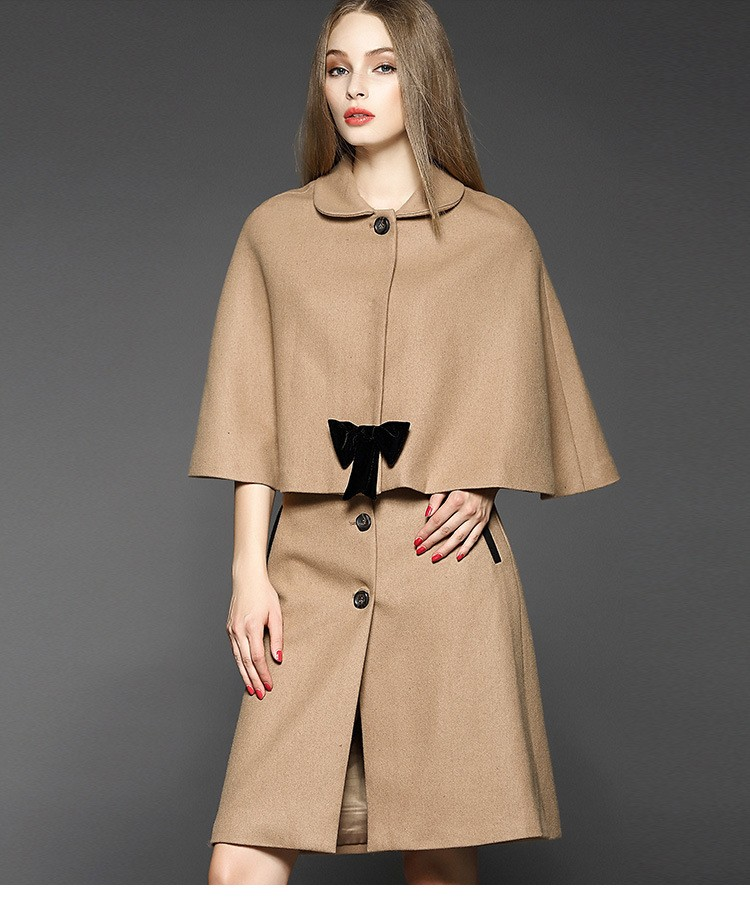C Style Wool Cashmere Manteau Coat Skirt Suit with Bow Decoration Winter(1)