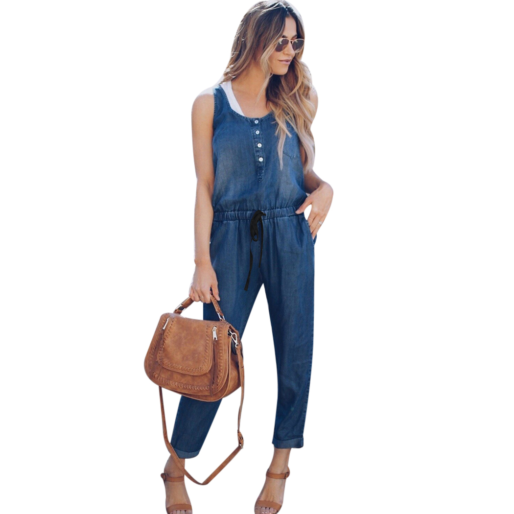 Fashion Summer Denim Jumpsuit Women Vest Sleeveless Elstic Tied Waist Long Trousers Overalls Female Pockets Jeans Jumpsuits ...