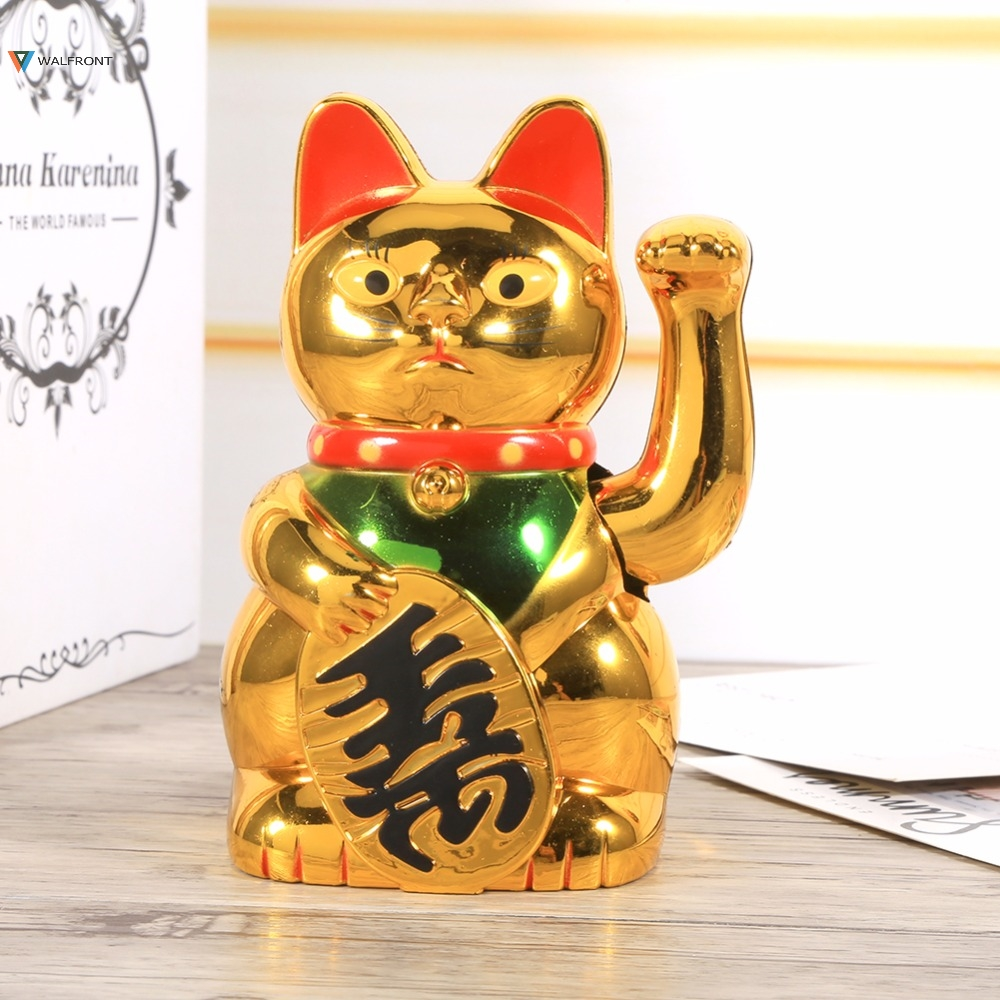 Fashion Gold Waving Hand Paw Up Prosperit Chinese Good Lucky Wealth Electric Waving Cat Golden Feng-Shui Lucky Cat Plastic Craft stuffed toy