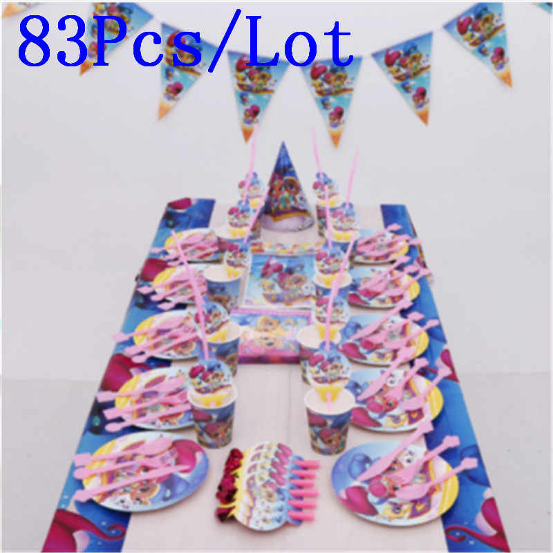 83Pcs Shimmer and Shine Theme Cup Plate Napkin Child Birthday Party Decoration Party Event Supply Favor Items For 10 People use