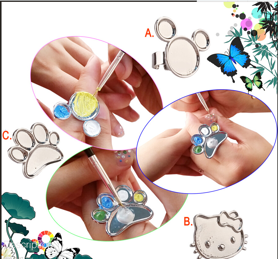 MKL2O 1PCS Nail Art Palette Ring Stainless Steel Pallet Professional Nail DIY Art Design Paint Color Mixing Palette Metal Tool 2 paint palette color mixing tray drawing utensil