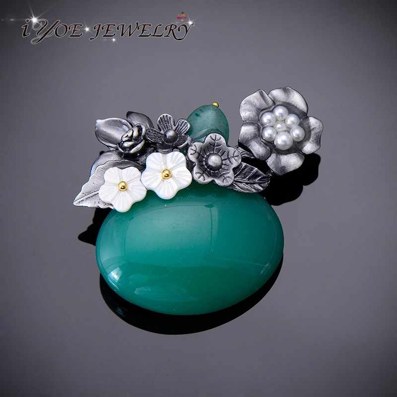 IYOE Fashion Metal Vintage Brooch Pins Natural Stone Jewelry Simulated Pearl Shell Brooches Bouquet For Women Exquisited Gifts